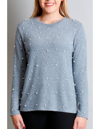 Cozy Knit Pearls Crew - Chambray