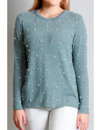 Cozy Knit Pearls Crew - Seafoam