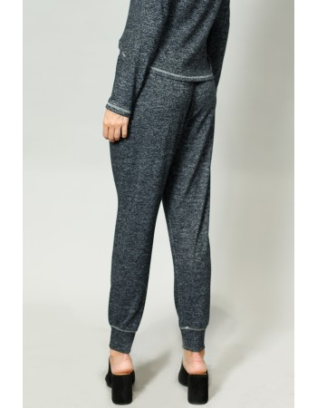 Cozy Contrast Stitch Pocket Jogger - Charcoal