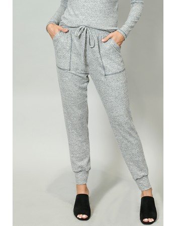 Cozy Contrast Stitch Pocket Jogger - HGrey