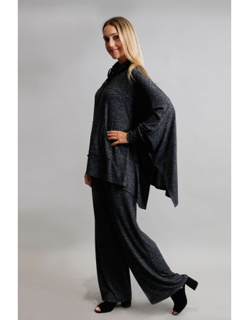 Cozy Built In Gaiter Pocket Poncho - Charcoal