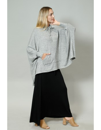 Cozy Built In Gaiter Pocket Poncho - HGrey