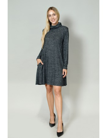 Cozy Built In Gaiter Swing Pocket Dress - Charcoal