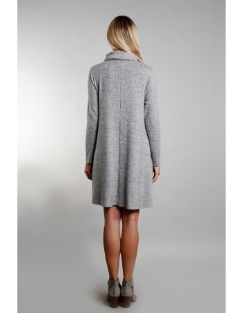 Cozy Built In Gaiter Swing Pocket Dress - HGrey