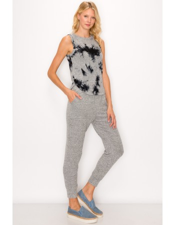 Tie Dye Cozy Curved Hem Tank Top - Grey Black