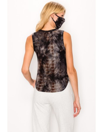 Tie Dye Cozy Curved Hem Tank Top - Navy Brown