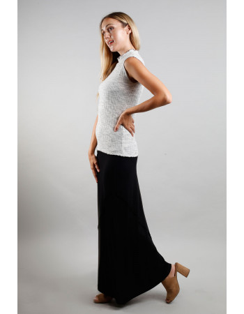 Rayon Span Fold Over Maxi Skirt