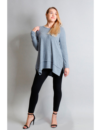 Cozy Long Sleeve Pleat Button Back - Chambray
