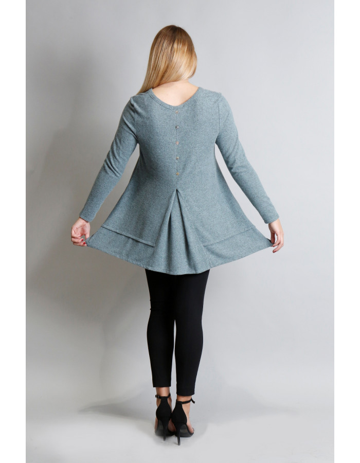 Cozy Long Sleeve Pleat Button Back - Seafoam