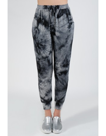 Tie Dye Cozy Jogger - Grey Black
