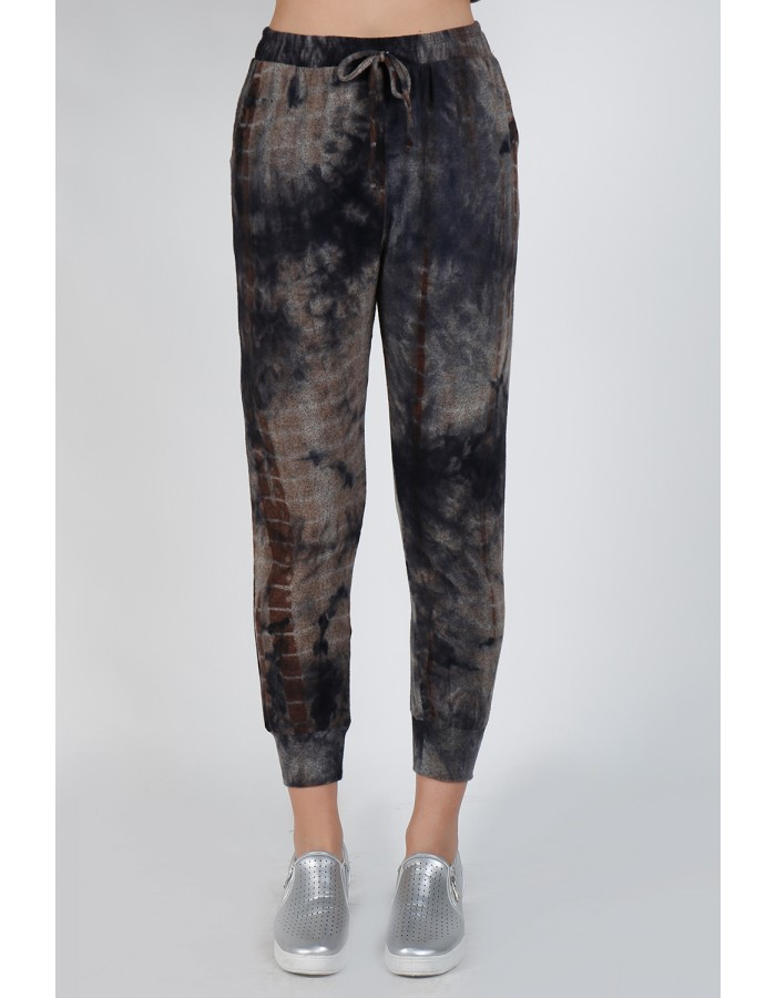 Tie Dye Cozy Jogger - Navy Brown