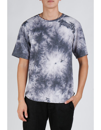 Tie Dye French Terry Curved Hem Tee - Grey Multi