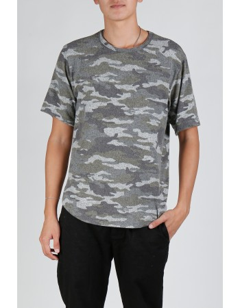 Camo Cozy Curved Hem Tee - H.grey/Army
