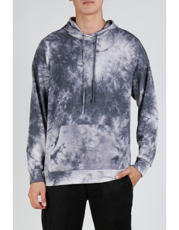 Tie Dye French Terry Pullover Hoodie - Grey Multi