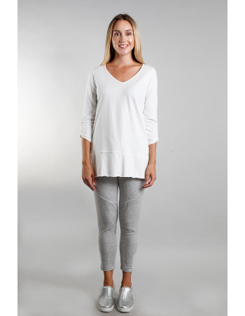 Cotton Jersey Roll Tab V-Neck Tunic