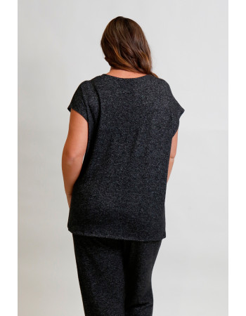 Cozy Knit V Neck Twist Front Curve - Charcoal
