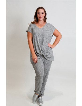 Cozy Knit V Neck Twist Front Curve - H.grey