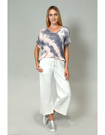 Tie Dye V Neck Rolled Sleeve Grey Peach