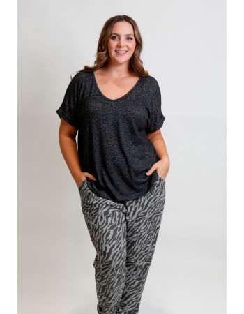 Cozy Knit V Neck Rolled Sleeve Curve - Charcoal