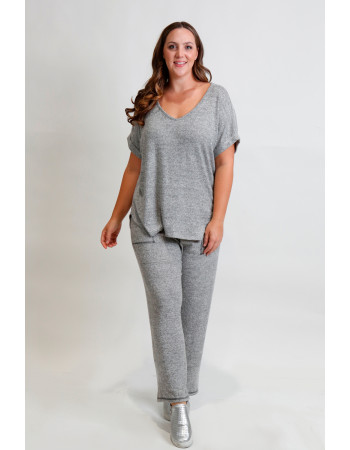 Cozy Knit V Neck Rolled Sleeve Curve - H.grey
