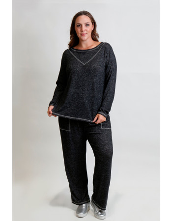 Cozy Knit Contrast Stitch Long Sleeve Curve - Charcoal