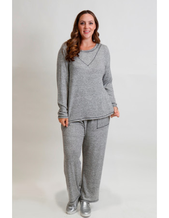 Cozy Knit Contrast Stitch Long Sleeve Curve - H.Grey
