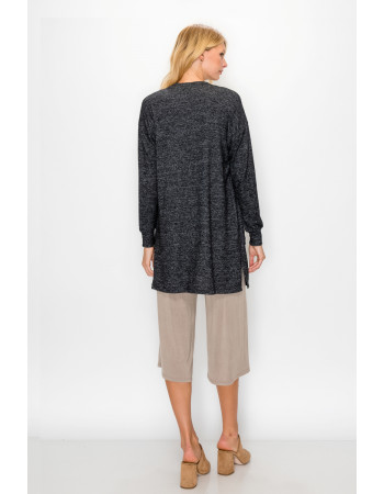 COZY KNIT POCKET CARDI - CHARCOAL