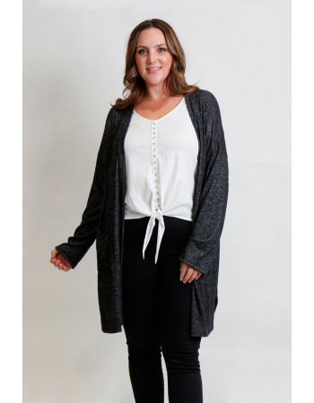 COZY KNIT POCKET CARDI CURVE - CHARCOAL