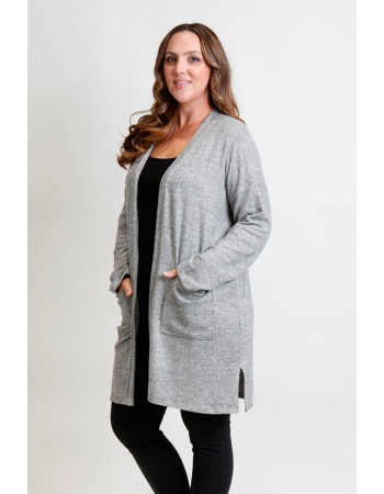 COZY KNIT POCKET CARDI CURVE - H. GREY