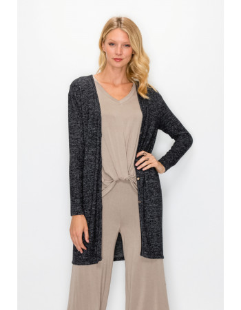 COZY KNIT FRONT BUTTON UP CARDI - CHARCOAL