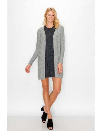 COZY KNIT FRONT BUTTON UP CARDI - H.grey