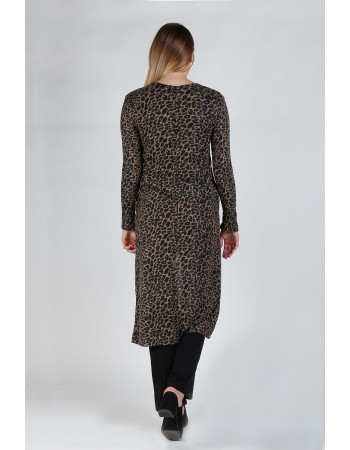 JAGUAR PRINT COZY BUTTON SLEEVE POCKET DUSTER - CAMEL/BLACK
