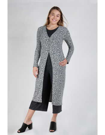 JAGUAR PRINT COZY BUTTON SLEEVE POCKET DUSTER - GREY/CHARCOAL