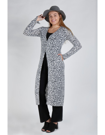 JAGUAR PRINT COZY BUTTON SLEEVE POCKET DUSTER - IVORY/CHARCOAL