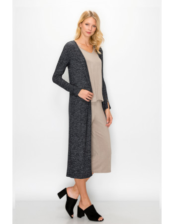 COZY KNIT BUTTON SLEEVE POCKET DUSTER - CHARCOAL