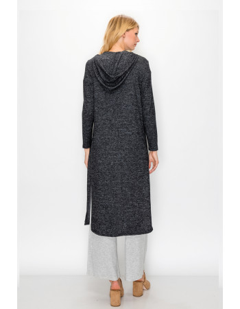 COZY KNIT SIDE SLIT HOODIE WRAP DUSTER - CHARCOAL