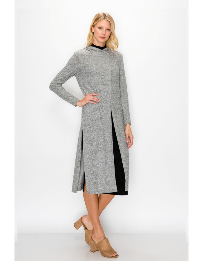 COZY KNIT SIDE SLIT HOODIE WRAP DUSTER - H.GREY