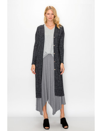 COZY KNIT BACK SLIT POCKET DUSTER - CHARCOAL