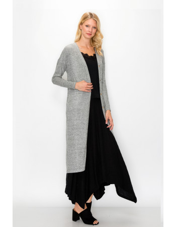 COZY KNIT BACK SLIT POCKET DUSTER - H.grey