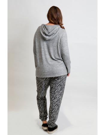 Cozy Knit Hoodie Curve - H.grey