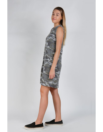 CAMO COZY CREW NECK SLEEVELESS SHIFT DRESS
