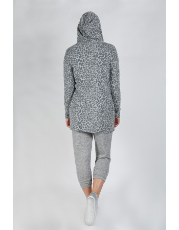 JAGUAR COZY ONE BUTTON HOODIE POCKET CARDI - GREY/CHARCOAL