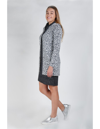 JAGUAR COZY ONE BUTTON HOODIE POCKET CARDI - IVORY/CHARCOAL