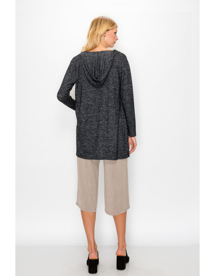 COZY KNIT ONE BUTTON HOODIE POCKET CARDI - CHARCOAL