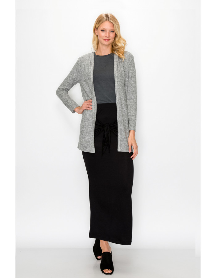 COZY KNIT ONE BUTTON HOODIE POCKET CARDI - H.GREY