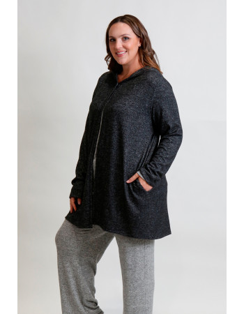 COZY KNIT ONE BUTTON HOODIE POCKET CARDI CURVE - CHARCOAL