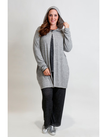 COZY KNIT ONE BUTTON HOODIE POCKET CARDI CURVE - H.GREY