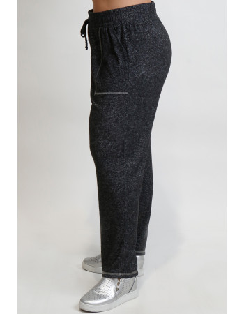 Cozy Knit Contrast Stitch Pocket Pants Curve - Charcoal