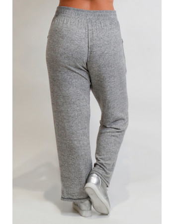 Cozy Knit Contrast Stitch Pocket Pants Curve - H.Grey