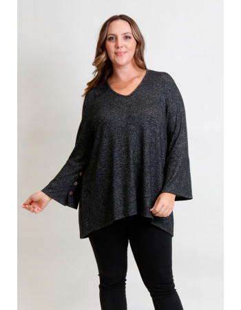 Cozy Knit V Neck Button Cuff Curve - Charcoal